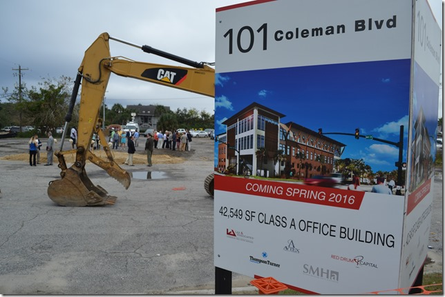 Public officials and developers broke ground this morning on 101 Coleman, a 42,500-square-foot office building and parking facility at the corner of Coleman Boulevard and Mill Street. (Photo/Andy Owens)