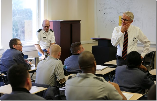 Since transitioning from City Hall to The Citadel, former Charleston Mayor Joe Riley has been a guest lecturer in several political science courses. (Photo/The Citadel)