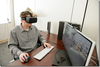 A researcher at the Clemson University Center for Center for Workforce Development demonstrates a virtual reality simulation. (Photo provided)