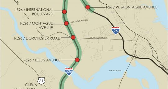 Improvements planned for congested section of I-526 ... on clemson university map, wadmalaw island map, charleston map, sullivans island map, tornado map, i-526 extension map, trail map, south carolina map, cross island parkway map, delaware route 1 map, carolina bays map, mount pleasant map, southern state parkway map, hutchinson river parkway map, george washington memorial parkway map, grand strand map,