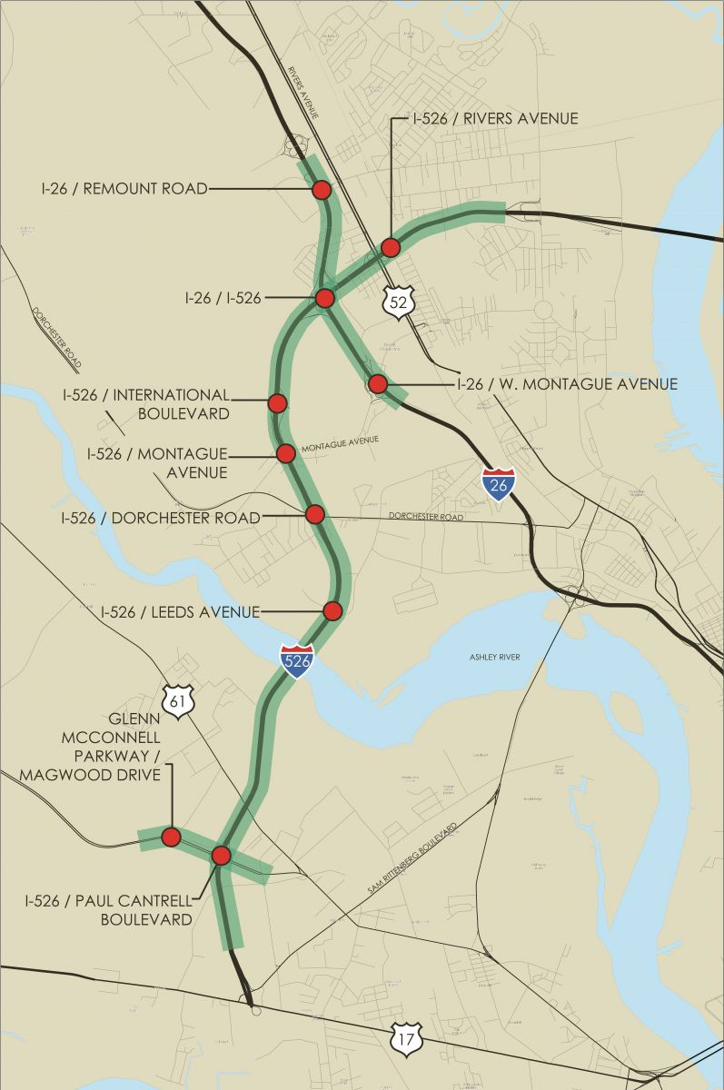 CLICK TO VIEW LARGER. The Department of Transportation plans to widen about eight miles of Interstate 26, as well as improve surrounding interchanges. (Map/Provided)