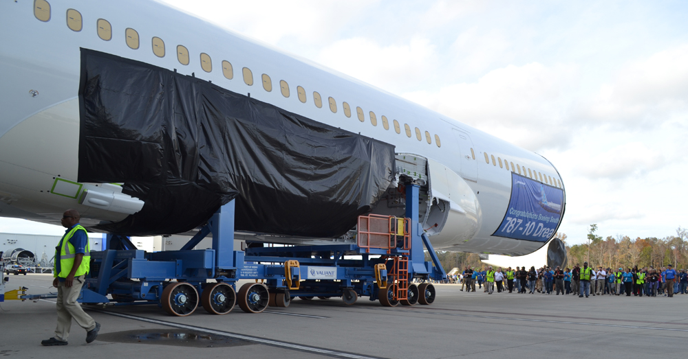 Boeing workers rolled the 787-10 midbody into the final assembly building in North Charleston at the end of November. The timeline of a visit to the Charleston area by President Donald Trump could coincide with the rollout of the first 787-10. (Photo/Andy Owens)