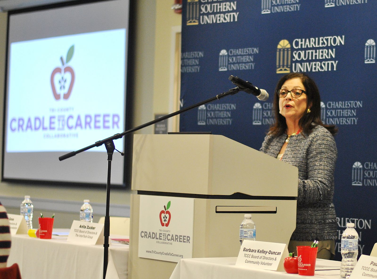 Tri-County Cradle to Career Collaborative board member Anita Zucker discusses how the education system in the Lowcountry could be changed to provide better outcomes for all students. (Photo/Ryan Wilcox)