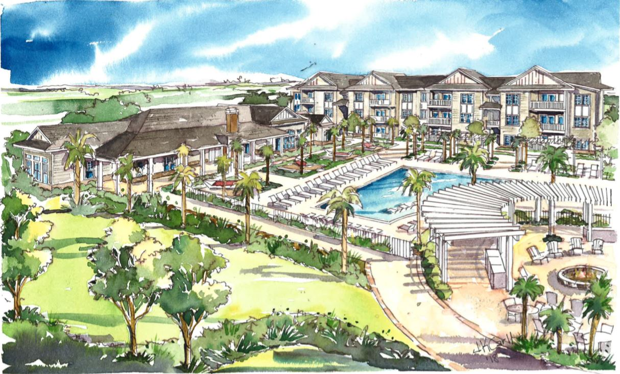 ILLUSTRATION: Arrogate Village, located in Nexton, is a 264-unit apartment community offering one-, two- and three-bedroom apartments. (Illustration/Provided)