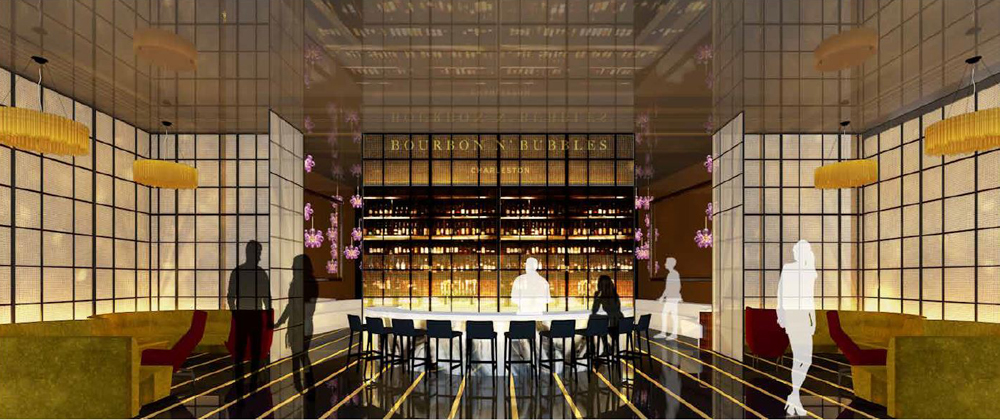 The Bourbon N' Bubbles interior, designed by Oakland, Calif.-based Mister Important Design, includes a circular, granite countertop bar with a floating shelf that highlights the liquors being offered. (Rendering/Bourbon N' Bubbles)
