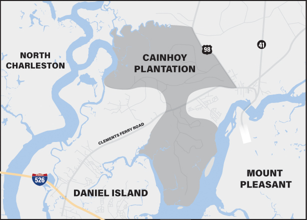 Click to view larger. The 9,000-acre Cainhoy Plantation sits within the city of Charleston and Berkeley County. It is a large, undeveloped tract of land surrounded by several municipalities. (Map/Emily Williams)