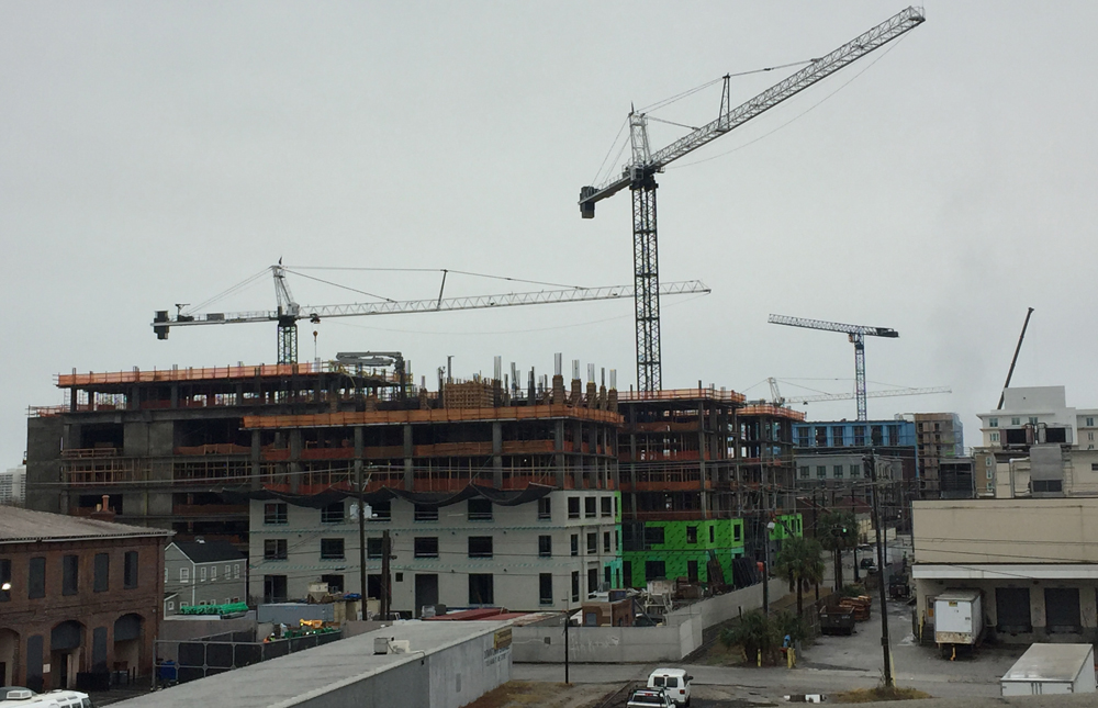 Phase I of the Courier Square development and the recently completed Midtown project are among downtown Charleston's commercial activity. Mixed-use developments with residential, office and retail are inching closer to the Crosstown Expressway on Upper King Street. (Photo/Liz Segrist)