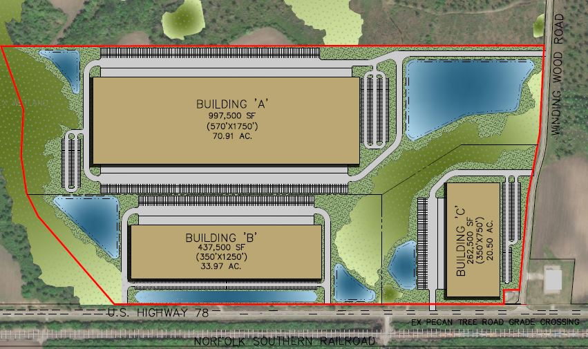 The DHL Commerce Park, which sits along U.S. Highway 78 in Dorchester County, will have three buildings. (Map/Provided)