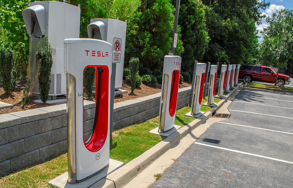 Tesla installed a supercharging site in the parking lot of the Hilton Garden Inn on Farrow Road in Columbia, and the company has plans to build another in downtown Charleston. (Photo/Andy Owens)