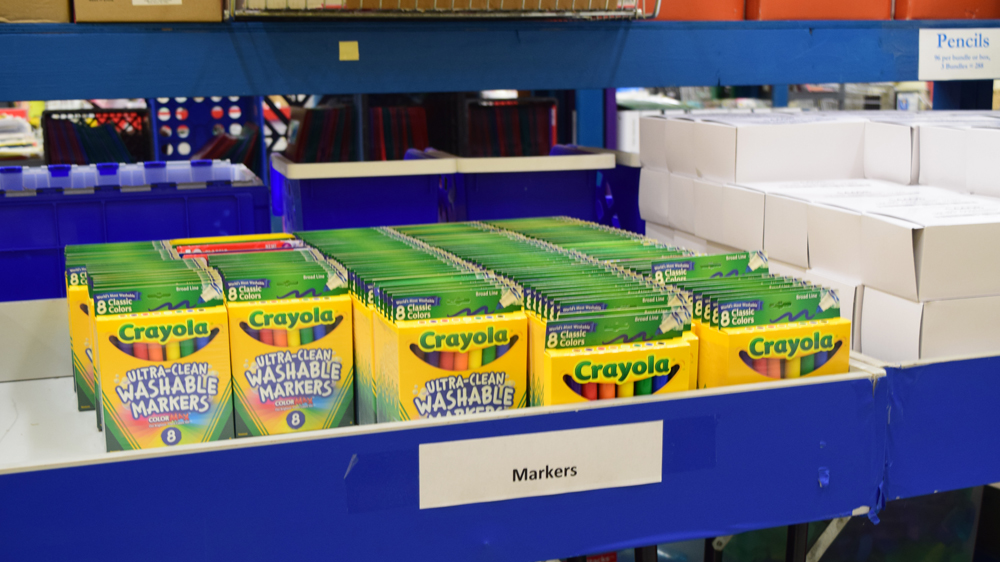 "Teachers from Title I schools can ""shop"" from a variety of school supplies to use in their classrooms. (Photo/Ashley Heffernan)"