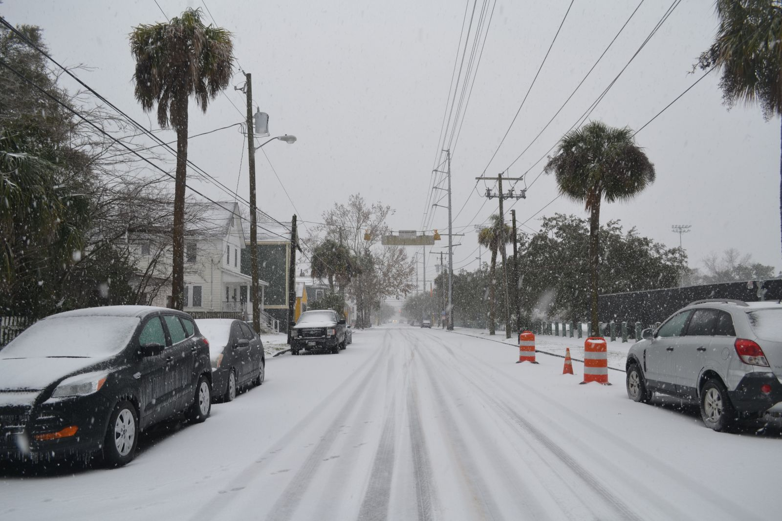 Snow covers President Street in Charleston today as a winter storm blanketed the area with snow and ice. (Photo/Liz Segrist)