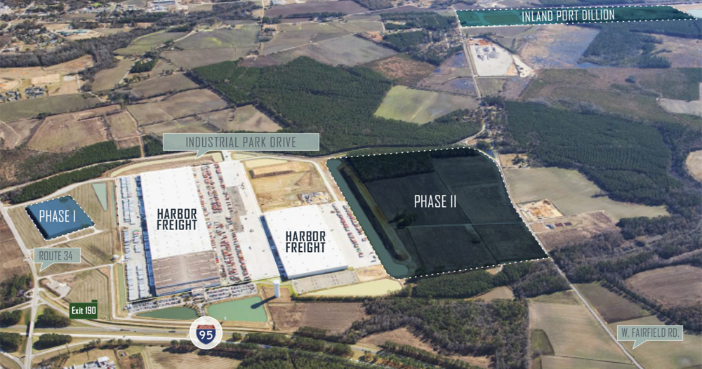 Equus Capital Partners Ltd. said the 95 Inland Port Logistics Center is Phase I of the company's development in Dillon County. (Map/Provided)