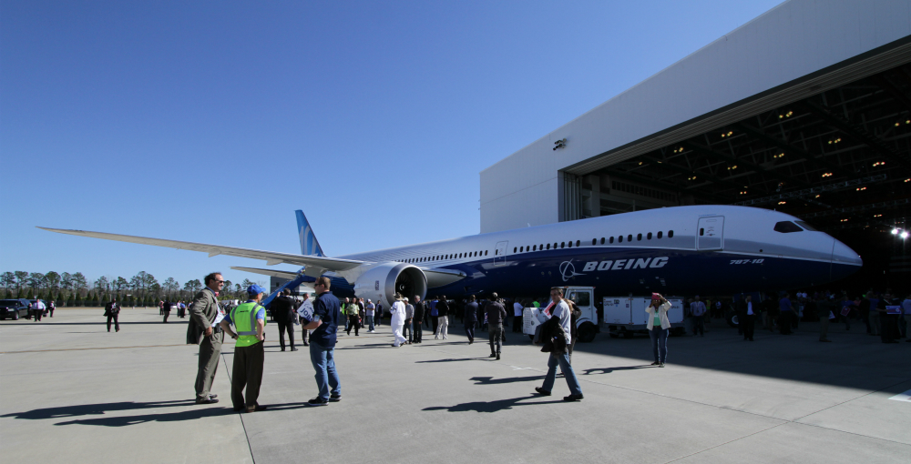 Boeing employees, S.C. officials and other attendees explore Boeing's new 787-10 Dreamliner at the rollout event today. (Photo/Kim McManus)