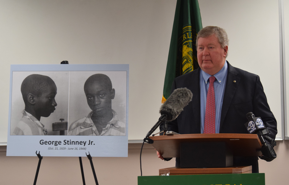 Charleston School of Law President Ed Bell explains that a new clinical externship class will help his law firm file a lawsuit on behalf of the George Stinney Jr. family (Photo/Ashley Heffernan)