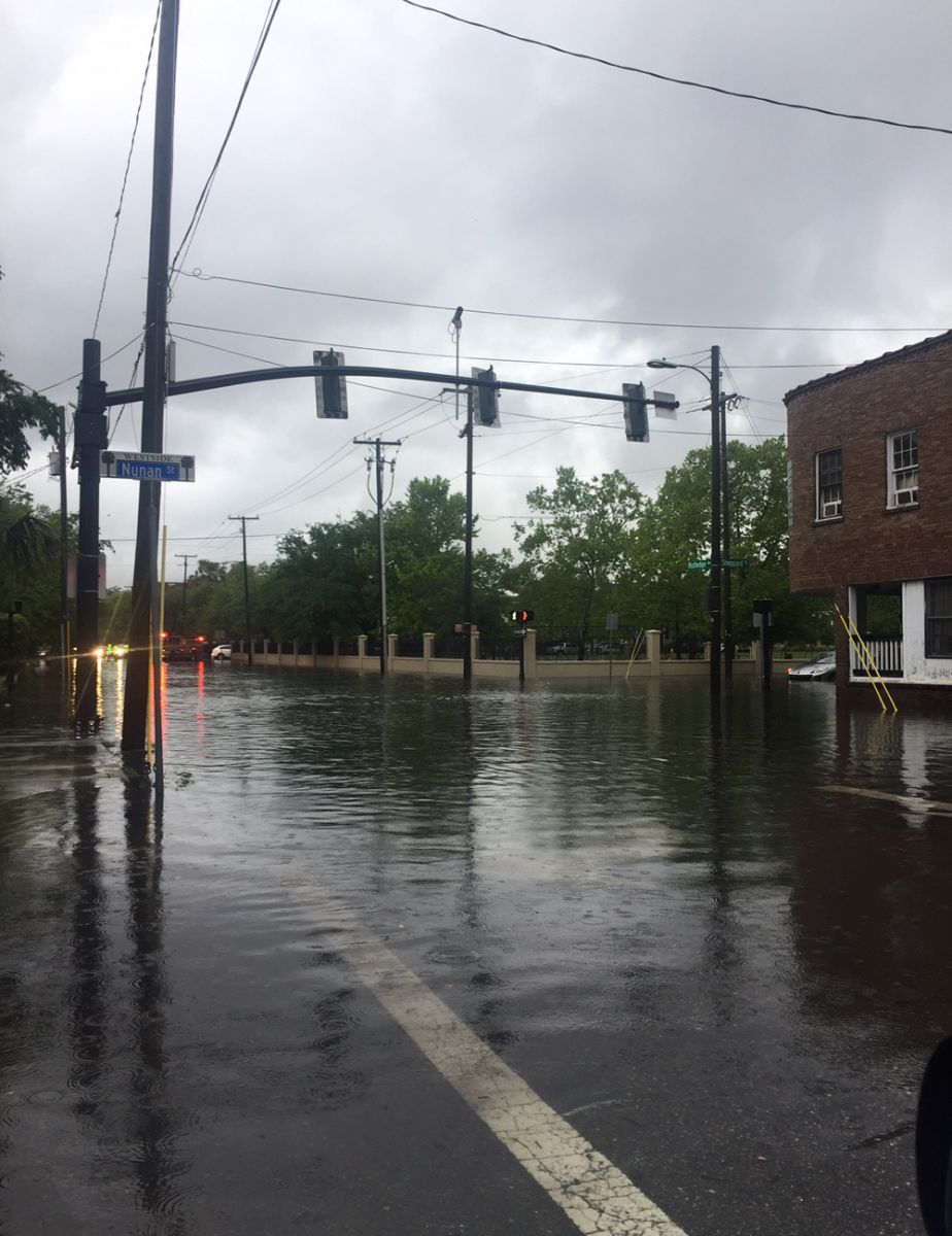 Torrential rains and high tide led to flooding in late April on Rutledge Avenue and other streets in downtown Charleston. Frequent flooding, especially in the spring and summer months, isn't unusual on Charleston's peninsula. (Photo/Liz Segrist)