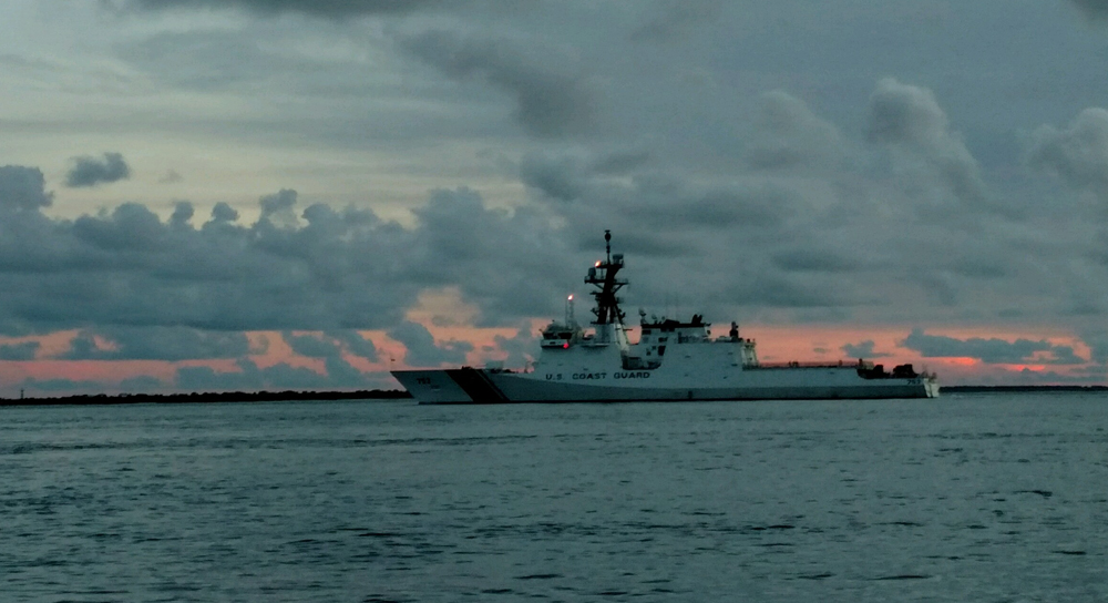 The Coast Guard National Security Cutter Hamilton departs Charleston. Many assets have been relocated out of the path of Hurricane Florence to be able to respond after it passes. (Photo/Petty Officer 1st Class Luke Clayton for the Coast Guard)