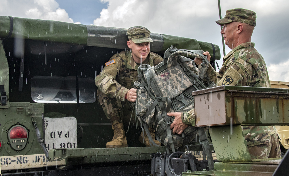 S.C. National Guard members load gear into a truck in advance of Hurricane Florence. Approximately 1,600 soldiers and airmen have been mobilized to respond to Hurricane Florence