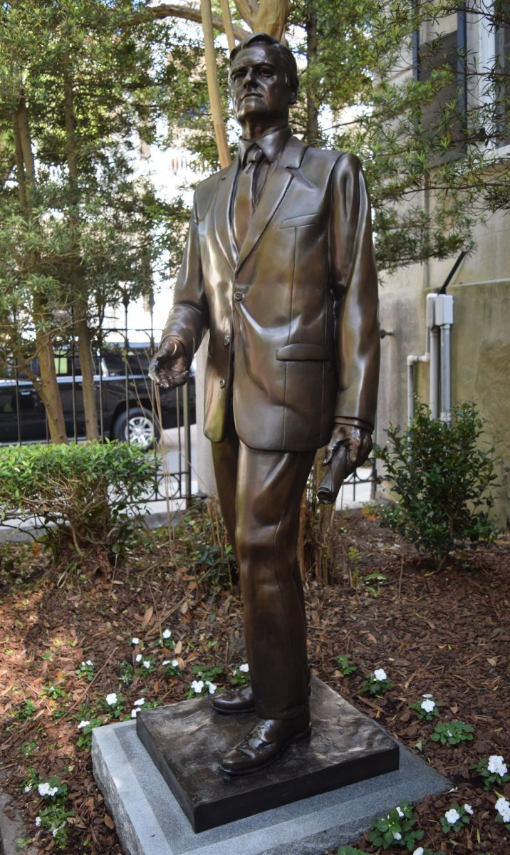 The statue of Fritz Hollings was erected in the garden of the J. Waties Waring Judicial center in downtown Charleston. (Photo/Ashley Heffernan)