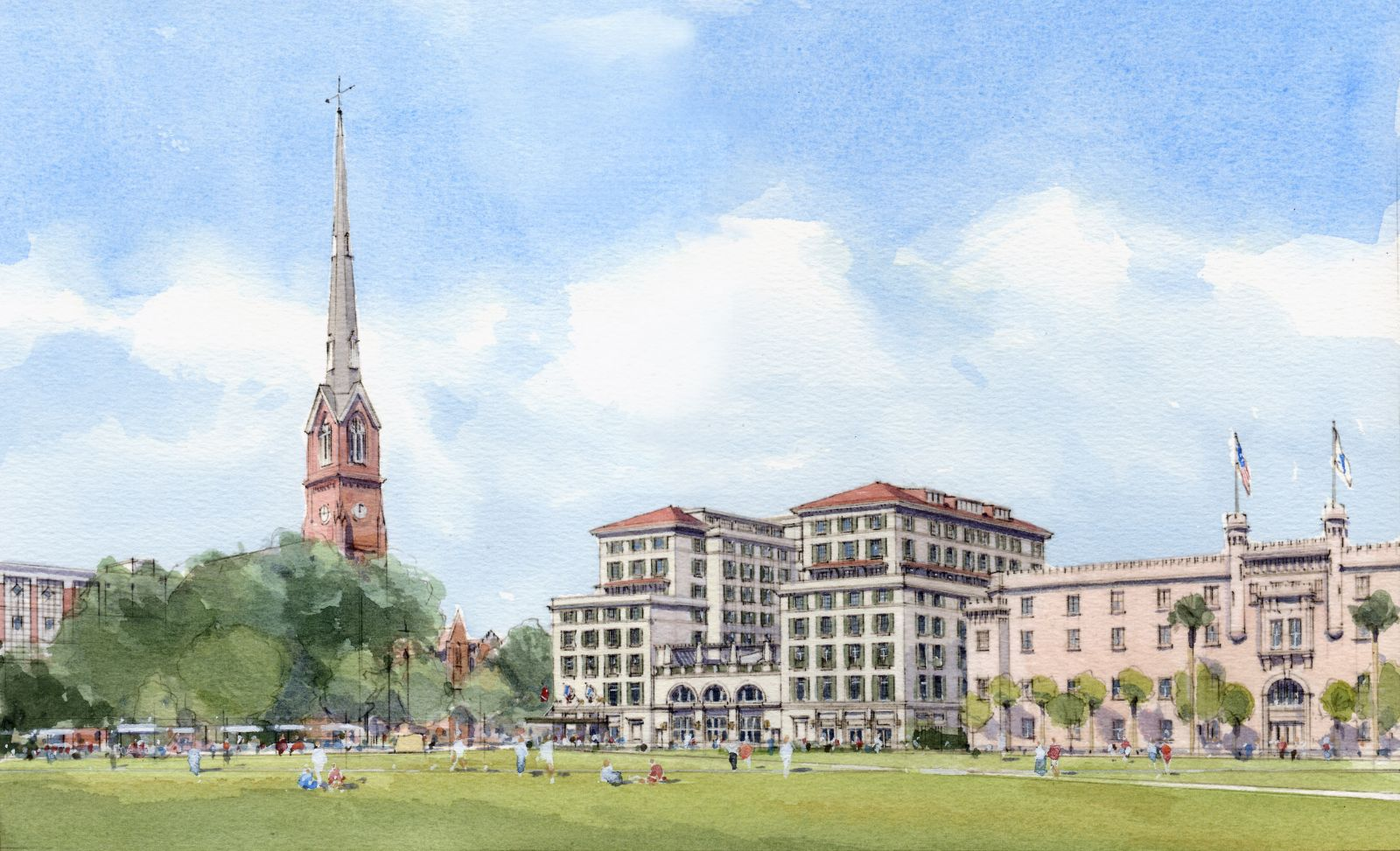 Many of the guest rooms and suites of Hotel Bennett will have balconies overlooking Marion Square and King Street. (Rendering/Salamander Hotels & Resorts)