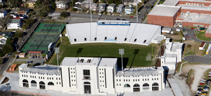 Johnson Hagood Memorial Stadium was built in the 1920s at 68 Hagood Ave. in downtown Charleston. The Citadel plans to replace the stadium's east stands. (Photo/The Citadel)