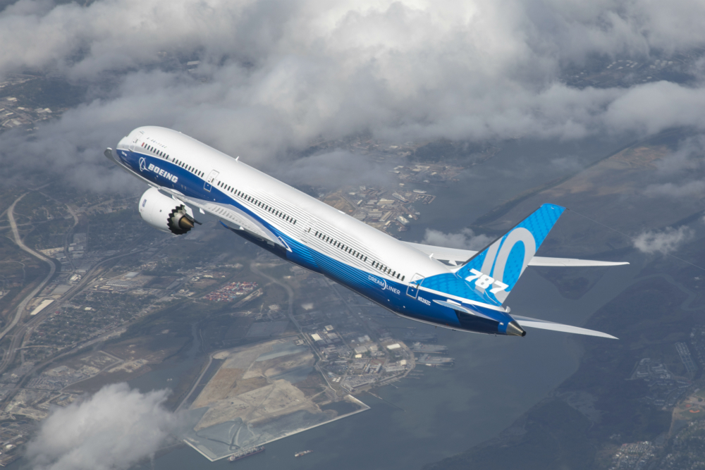 The Boeing 787-10 Dreamliner took to the skies for the first time over Charleston in March. (Photo/Boeing Co.)