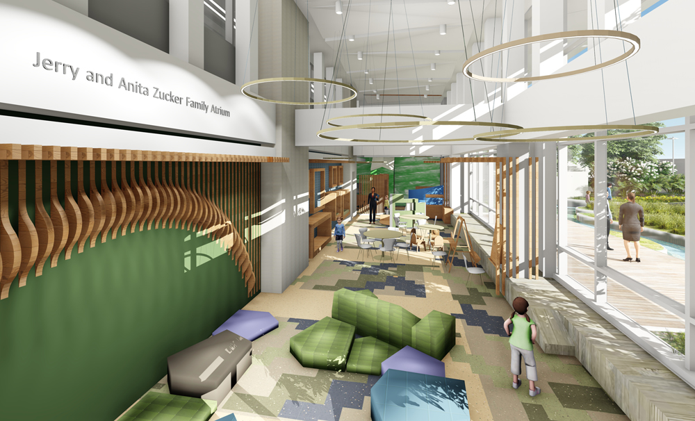 The Jerry and Anita Zucker Family Atrium will be an area where children and their families can relax, read and play games away from the rest of the hospital. (Rendering/Provided)
