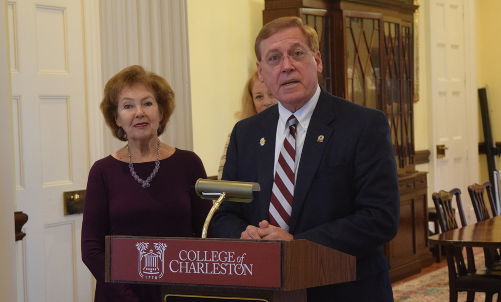 "Trident Tech President Mary Thornley and College of Charleston President Glenn McConnell announce the ""Charleston Bridge"" program, which is designed to ease high school students' transition to the four-year college. (Photo/Ashley Heffernan)"