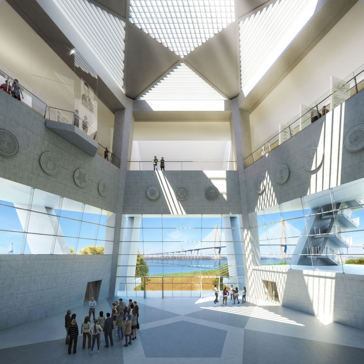 The star shape of the Medal of Honor will be seen in the Hall of Valor's ceiling and floor inside the National Medal of Honor Museum. (Rendering/Safdie Architects for the National Medal of Honor Museum)