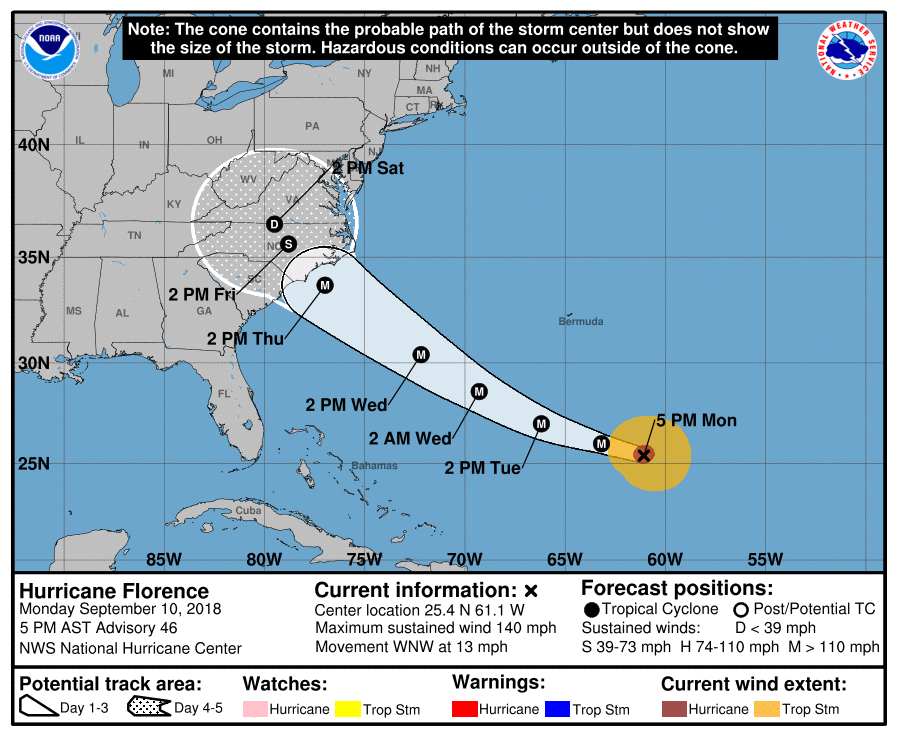 Map as of 5 p.m. Click to view larger. (Image/National Hurricane Center)