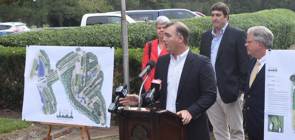 Golf course architect Troy Miller (speaking) created the renovation plans for the City of Charleston Golf Course, including improvements to the golf course's drainage and reworking of some of the course's features to make it more maintainable and playable for golfers of all skill levels. (Photo/Patrick Hoff)