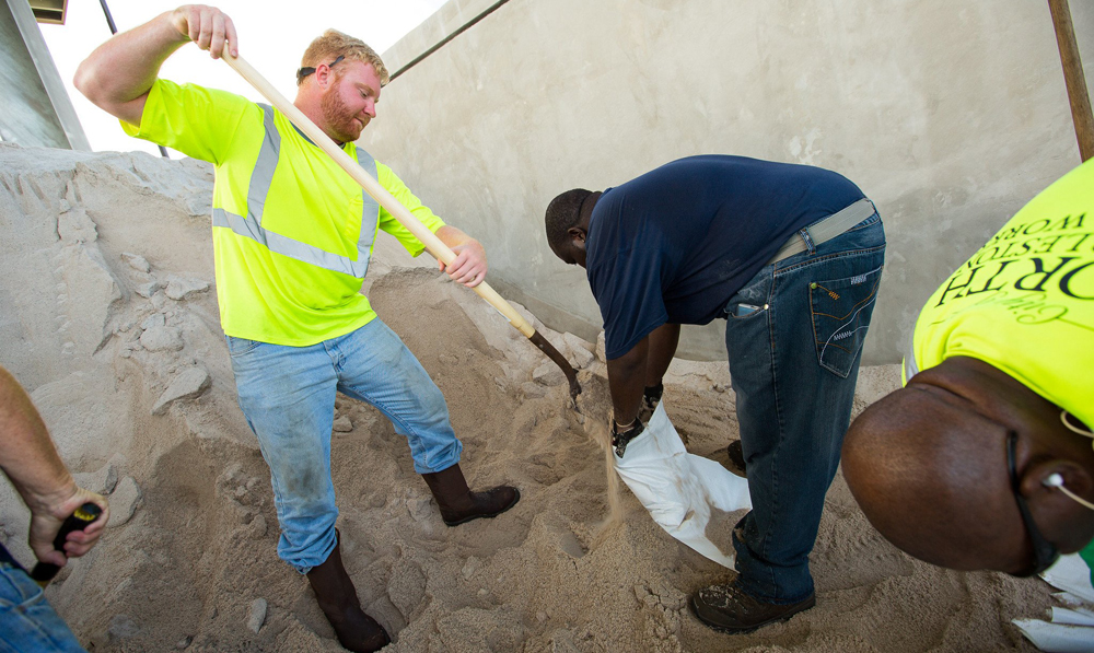 North Charleston workers helped residents fill sandbags in anticipation of Hurricane Dorian's arrival. As of Wednesday, the city had distributed more than 32,000 sandbags. (Photo/North Charleston)