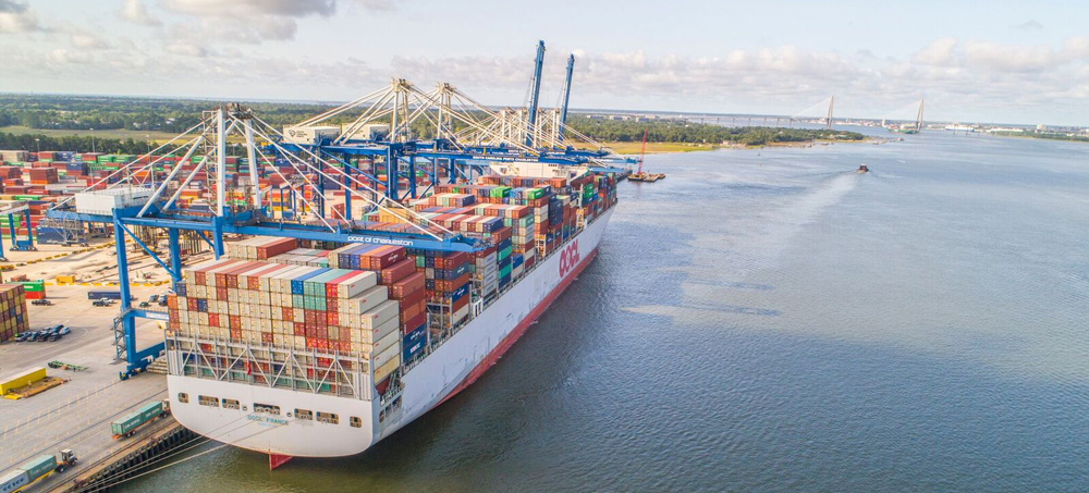 The 13,926-TEU OOCL France called on the Port of Charleston in June before heading for Hong Kong. (Photo/Skyview Aerial Solutions)