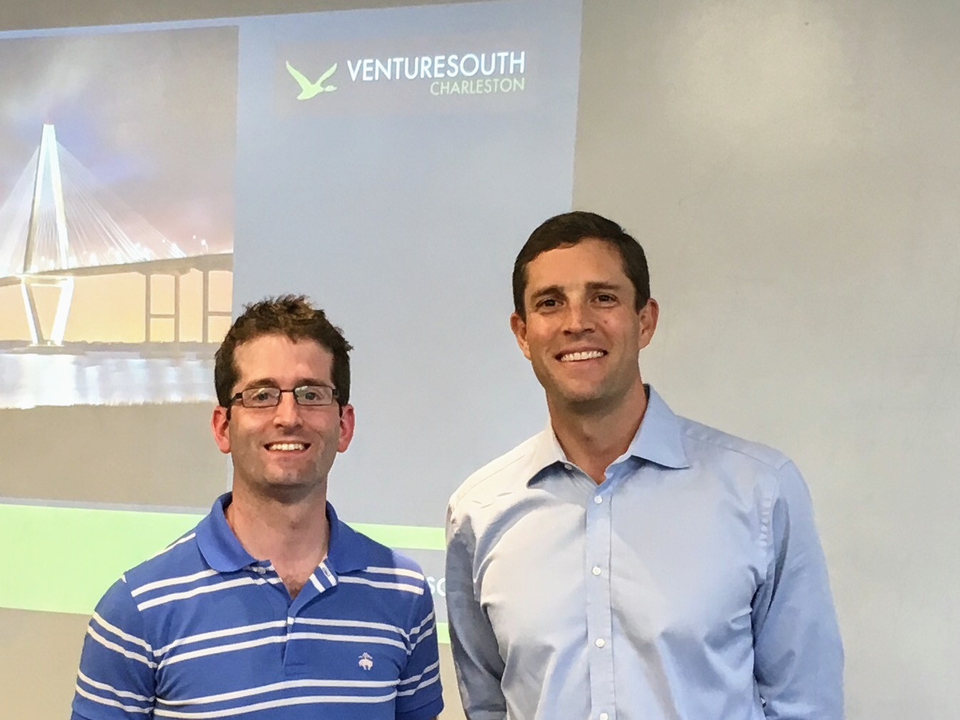 Paul Clark, managing director, and Eric Thome, local director, help vet companies for VentureSouth, an angel investment firm headquartered in Greenville, which invests in Southeastern startups. (Photo/Thomas Heath)