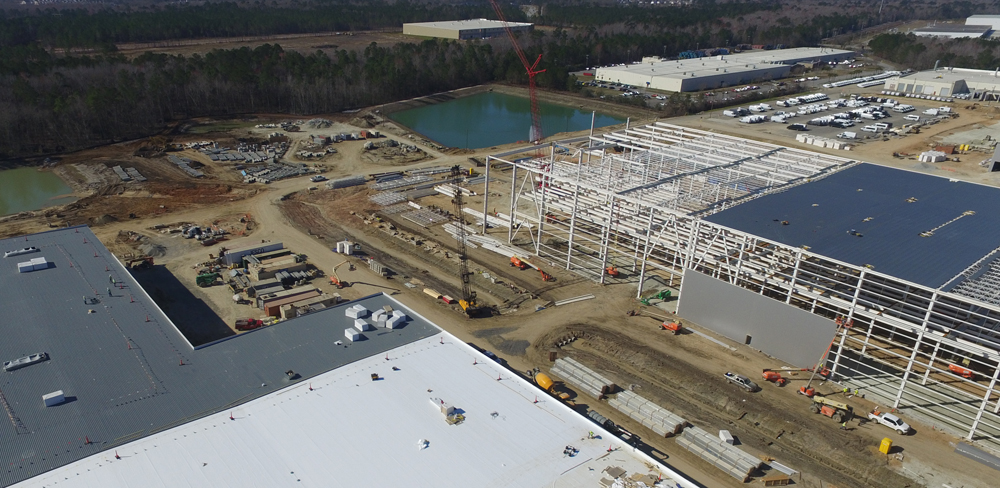 The final steel beam is in place for Mercedes-Benz Vans' new paint facility, and the body shop and assembly buildings are making progress. Equipment will be installed on the North Charleston site in the coming months. (Photo/Provided)