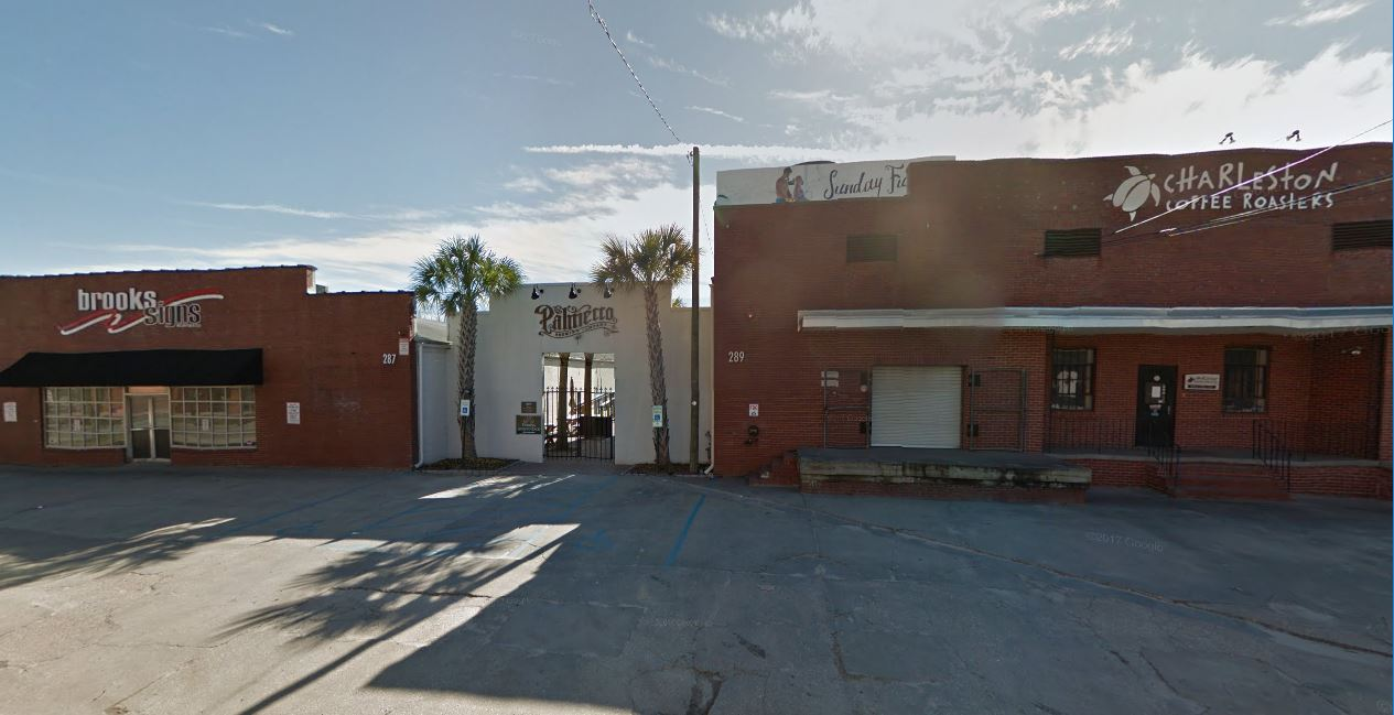 Palmetto Brewing Co. has purchased its site at 289 Huger St. in downtown Charleston. The brewery's owners plan to expand into the Coastal Coffee Roasters site and tear down the Brooks Signs building. (Image/Google Street View)
