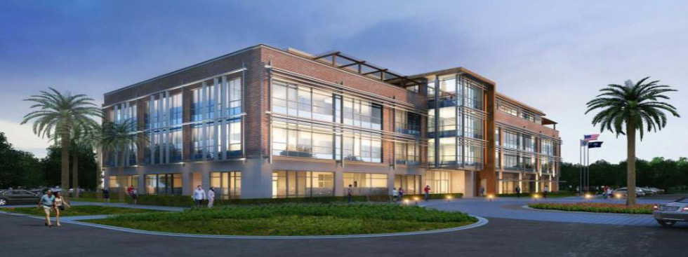 The four-story office building includes 84,000 square feet for office space and a rooftop deck. (Rendering/Provided)