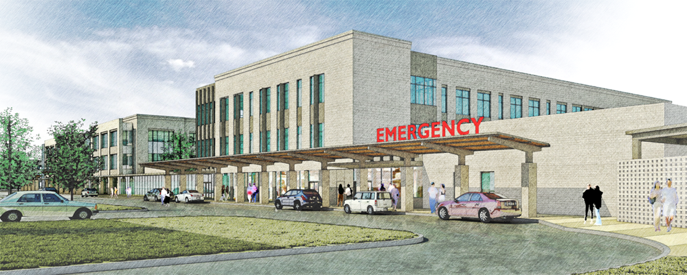 The three-story Roper St. Francis Berkeley Hospital is expected to open in the summer of 2019. Some physicians at the hospital will be rotated in from other Roper St. Francis locations, while others will be new hires. (Rendering/Roper St. Francis)
