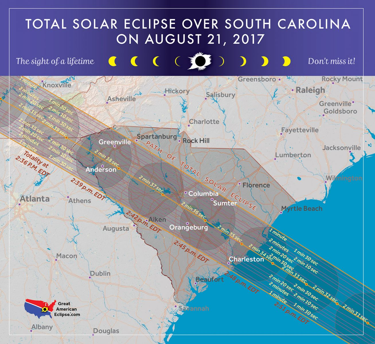 If weather permits, the entire United States will see a partial eclipse on Aug. 21 for two to three hours, according to NASA. But locations within a 60- to 70-mile-wide path stretching from Oregon to South Carolina will see a total eclipse for a few minutes. (Map/Michael Zeiler, GreatAmericanEclipse.com)