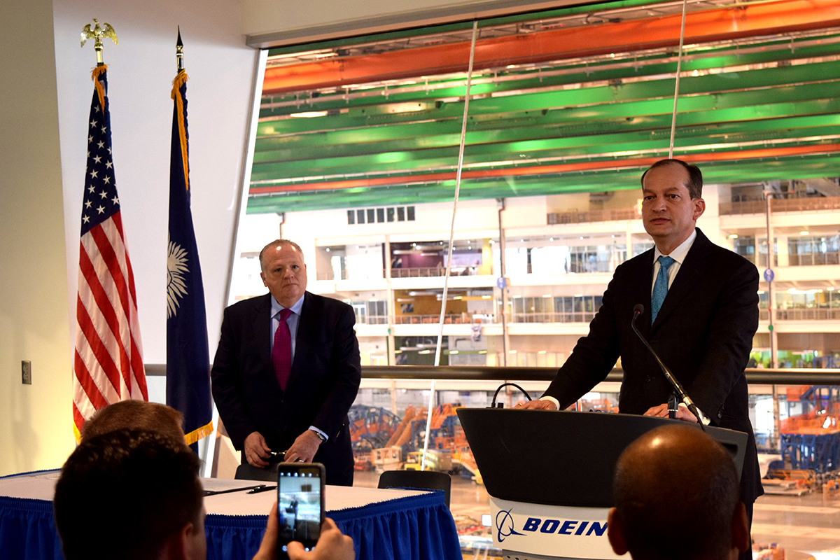 Secretary of Labor Alexander Acosta said employers and educational institutions need to work together to provide workers with in-demand skills (Photo/Patrick Hoff)