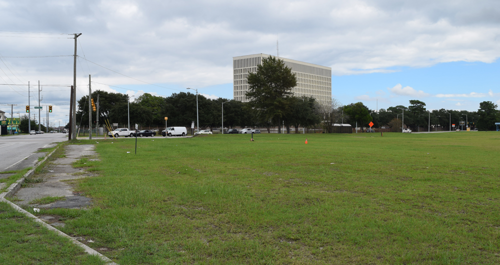 The former Shipwatch Square site, now an empty lot at the corner of McMillan and Rivers avenues in North Charleston, might be redeveloped with a grocery store. (Photo/Ashley Heffernan)