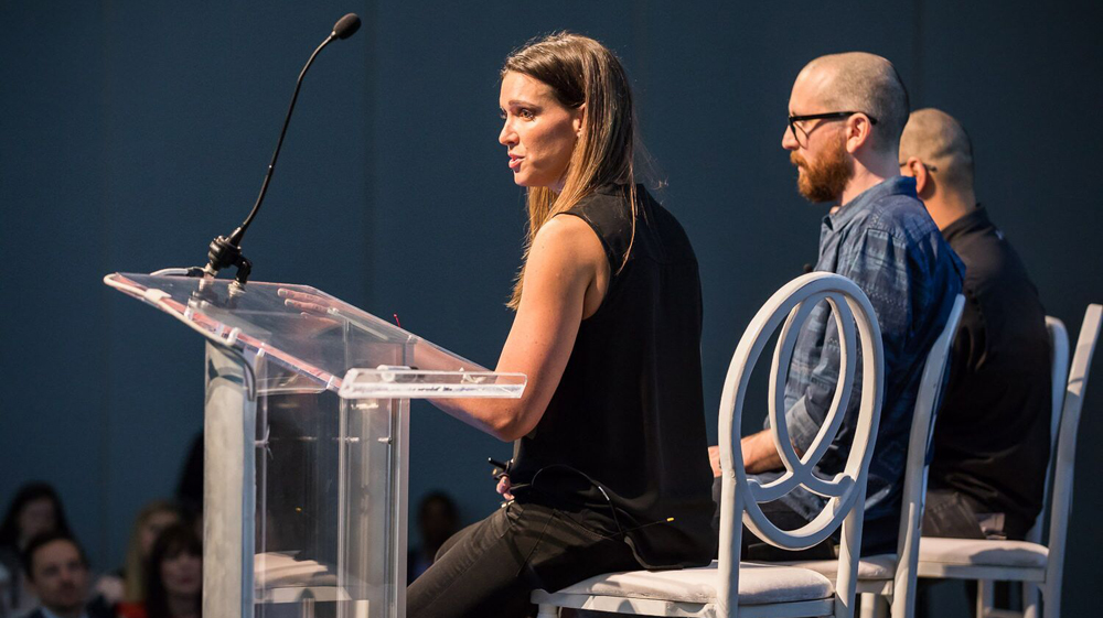 Megan Oepen, head of content for Under Armour, said during Dig South that she seeks to connect people to the brand through stories. (Photo/Adam Chandler)