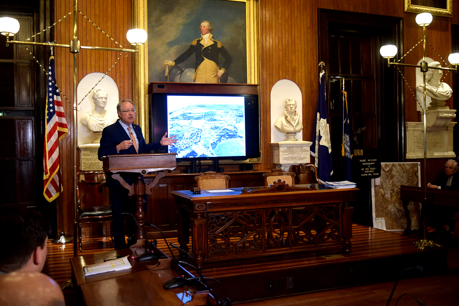 Charleston Mayor John Tecklenburg dedicated the majority of his State of the City address to presenting a strategic plan for dealing with flooding across the city. (Photo/Patrick Hoff)