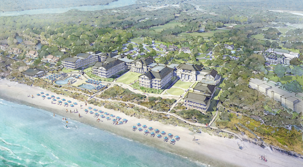 The West Beach Village Hotel, breaking ground this summer, will be located where the original Kiawah Island Inn was. (Rendering/Michael McCann for Robert A.M. Stern Architects)