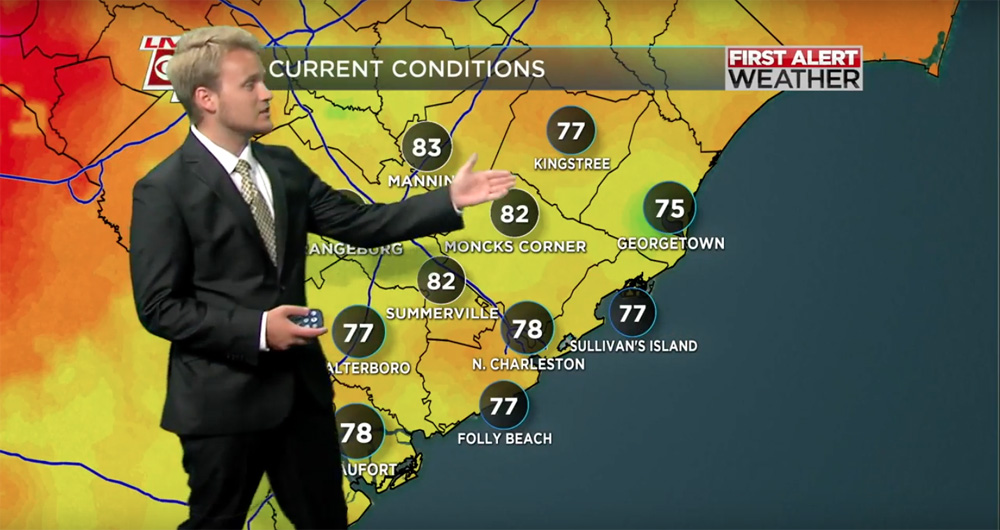 College of Charleston meteorology student Trevor Gibbs practices giving a weather forecast off-air in the Live 5 News studios. (Photo/Provided)