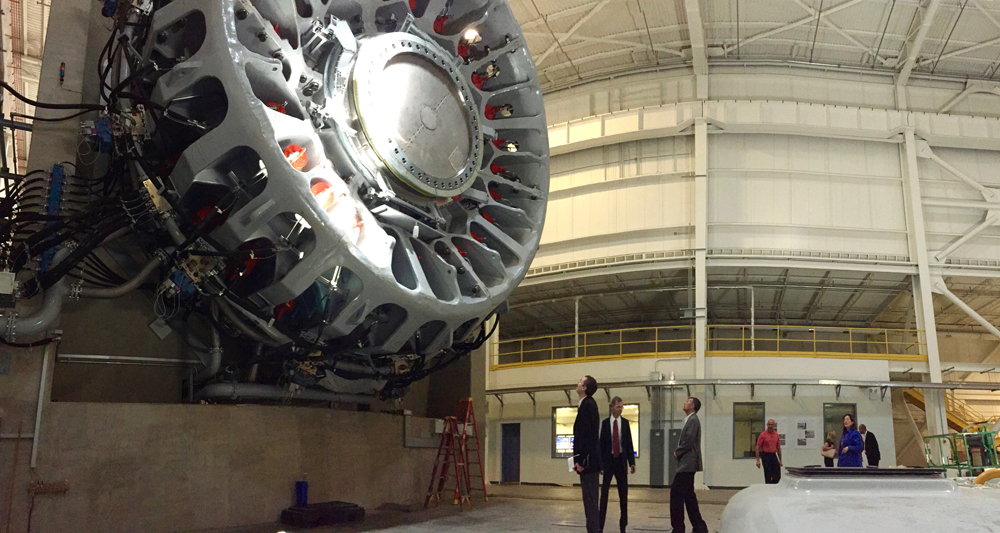 Researchers test turbine parts at the Dominion Energy Innovation Center in North Charleston. (Photo/File)