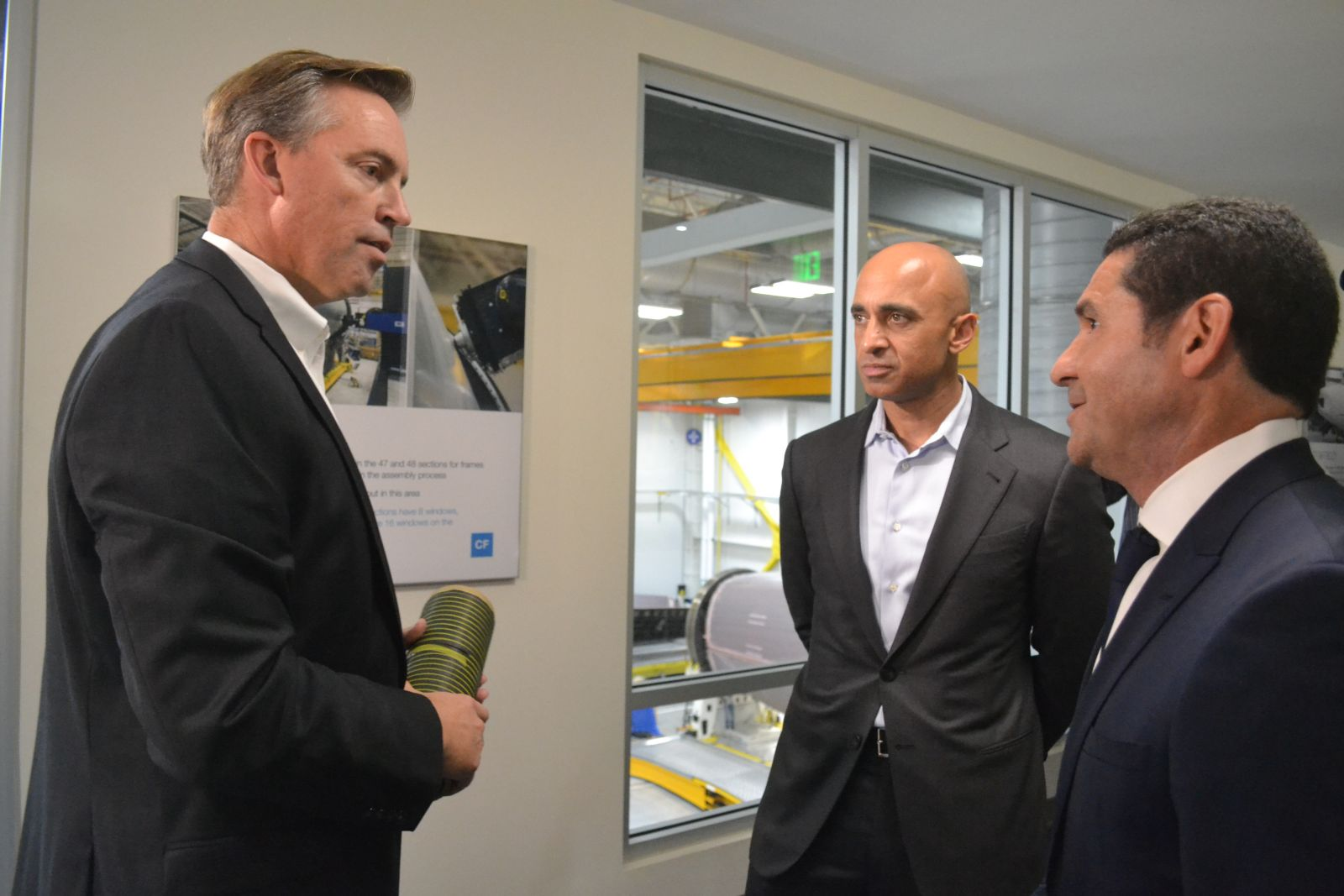 Darrel Larson, Boeing S.C. director of aftbody operations, (from left); UAE Ambassador Yousef Al Otaiba; and David Carbon, vice president of 787 operations, tour Boeing S.C.'s aftbody facility last month. (Photo/Liz Segrist)