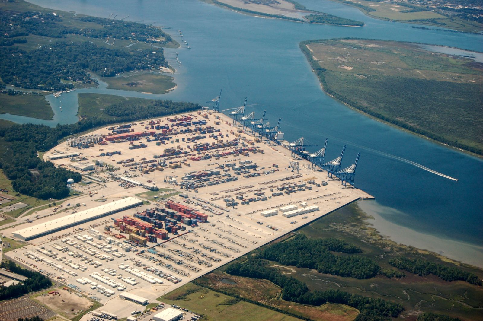 The Wando Welch Terminal is viewed from the air. The S.C. Ports Authority reported a 13% increase in the number of pier containers moved in August compared to last year. (Photo/file)