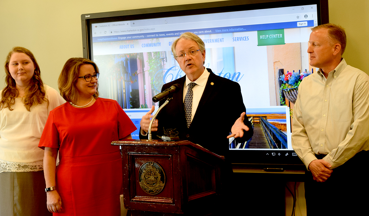 Charleston Mayor John Tecklenburg and Tina Wirth, senior vice president of talent advancement at the Charleston Metro Chamber of commerce, challenged Lowcountry businesses to hire 1,000 high school and college students for summer employment (Photo/Patrick Hoff)