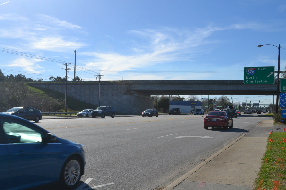 Interstate 526 currently ends on Savannah Highway in West Ashley. Plans call for building onto that section of the highway, adding about seven miles to extend it into Johns and James islands. (Photo/Liz Segrist)