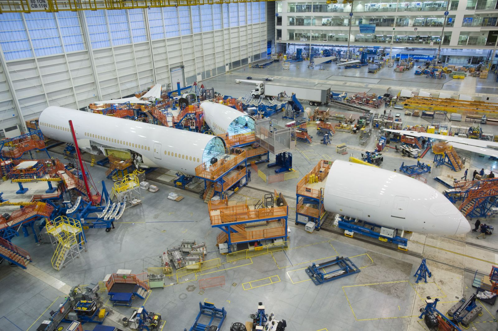 Final assembly work has started on the 787-10 Dreamliner one week after parts of the jet were rolled into the final assembly building at Boeing S.C. in North Charleston. (Photo/Boeing)